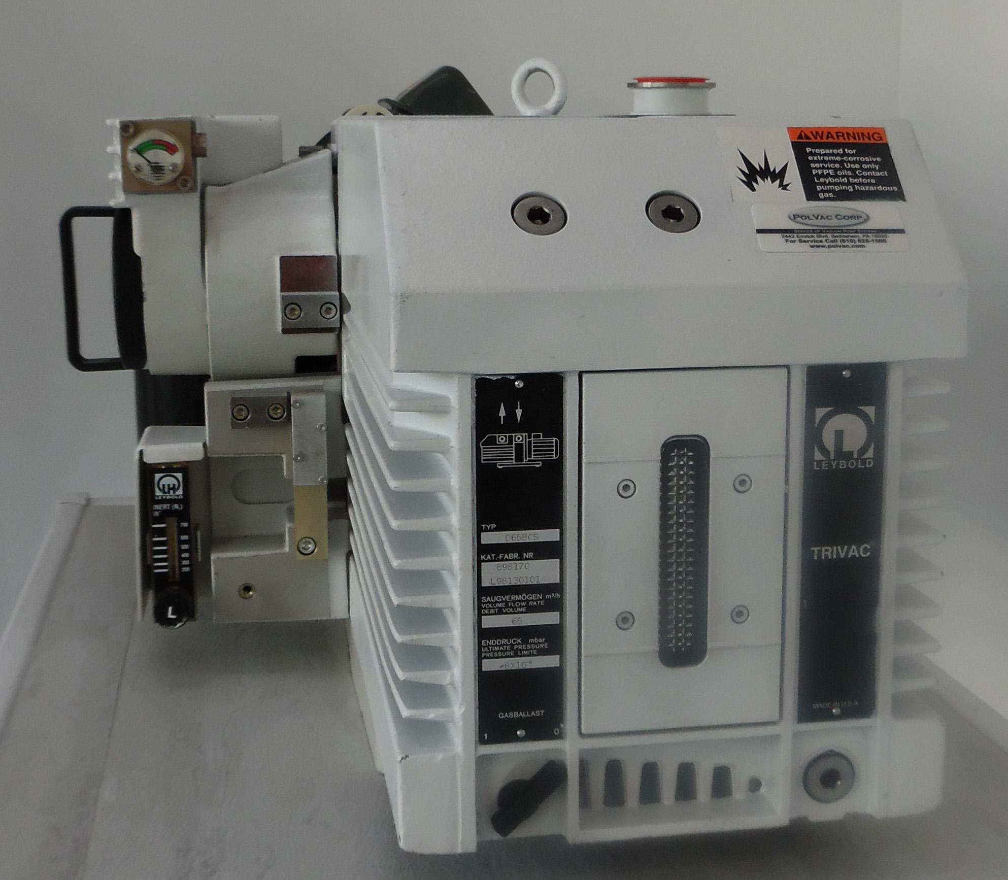 Leybold D65BCS Vacuum Pump with CFS40/65, N2 Purge Setup